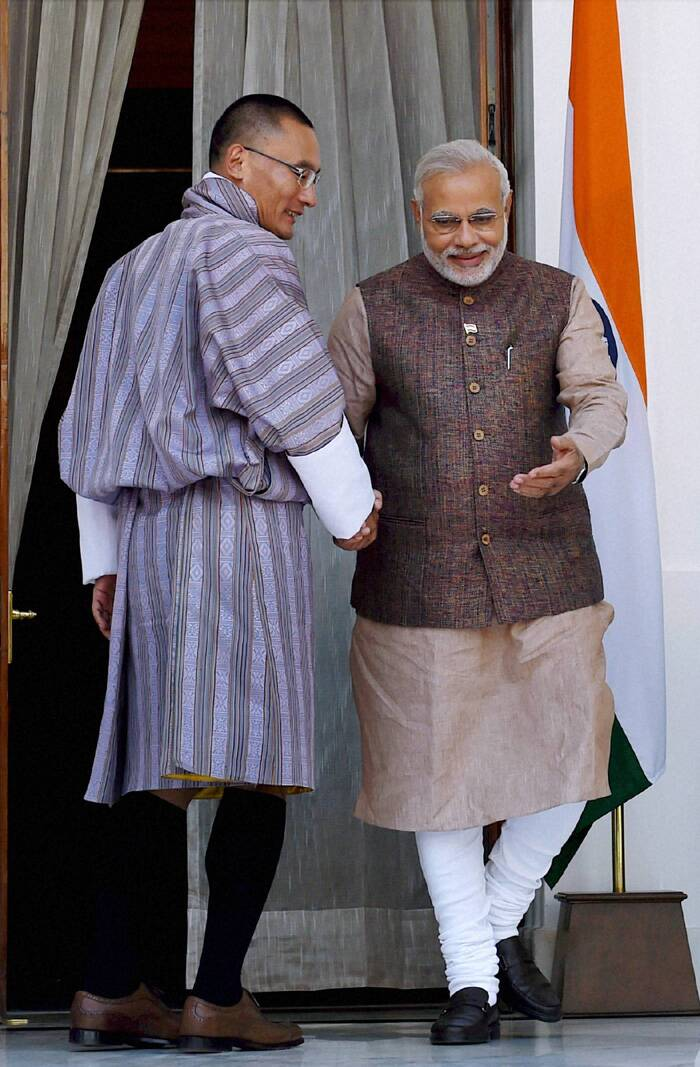 Narendra Modi with his Bhutan counterpart Lyonchhen Tshering Tobgay during a meeting at Hyderabad House. (Source: PTI)