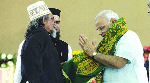 Mehdi Hasan with Modi during Sadbhavna fast in September 2011 when the chief minister declined his request to wear a skullcap. (Archive)