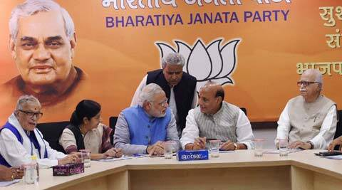 BJP's PM candidate Narendra Modi with party president Rajnath Singh and senior leaders during the party's parliamentary board meeting in New Delhi on Saturday. (Source: PTI)