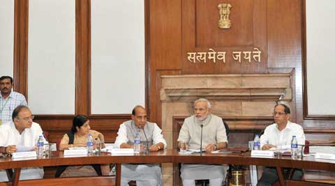 Prime Minister Narendra Modi with cabinet ministers of his government in New Delhi. ( Source: PTI )