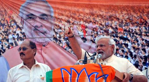 JP's PM candidate Narendra Modi addressing an election rally in Azamgarh on Thursday. (Photo: PTI)