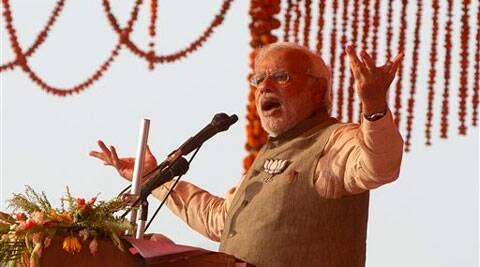 Narendra Modi speaks at an elections rally in Allahabad on Sunday.