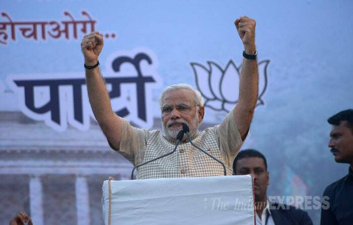 In a gracious 45-minute victory speech in Vadodara, Modi said the government does not belong to any particular party but to all the people of the country. (Source: Express photo by Bhupendra Rana)