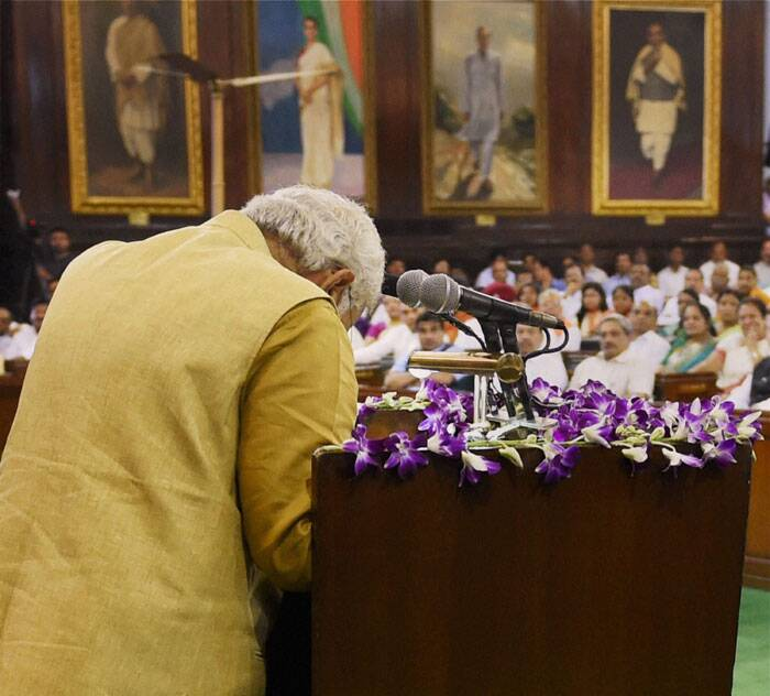 Modi made nearly a 30-minute acceptance speech after being elected as the leader at the Central Hall of Parliament. (Source: PTI)