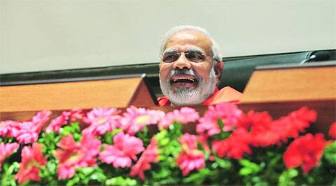 Modi at a meeting of the Gujarat cabinet in Ahmedabad on Tuesday.( Express photo by Javed Raja )