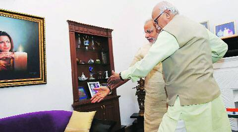 BJP leaders L K Advani and Narendra Modi in New Delhi on Sunday. PTI