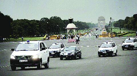 Rehearsal on Rajpath on Saturday for Narendra Modi's swearing-in. (Source: Express photo by Praveen Khanna)