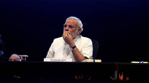 Gujarat Chief Minister Narendra Modi at an event. (IE photo)