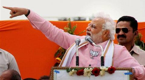 Modi asked people 'living' in birthplace of Lord Ram to teach Congress a lesson for not fulfilling electoral promises. (PTI)