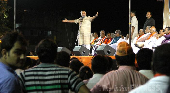 Narendra Modi addresses a public meeting in Ahmedabad on Friday. (Source: Express photo Bhavesh Ravat)