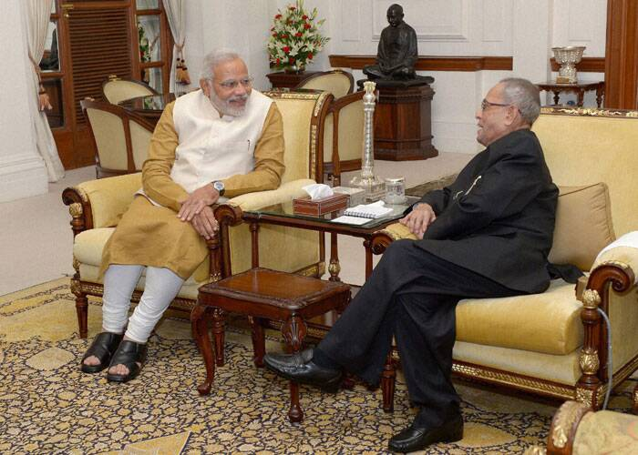 Narendra Modi's call on the President came after he was unanimously elected leader of the BJP Parliamentary Party and later at a combined meeting of the BJP and its allies constituting the NDA as leader of the coalition. (Source: PTI)