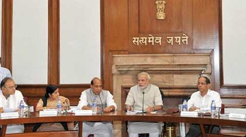 Prime Minister Narendra Modi chairing the first Cabinet Meeting of his government in New Delhi. (Source: PTI)