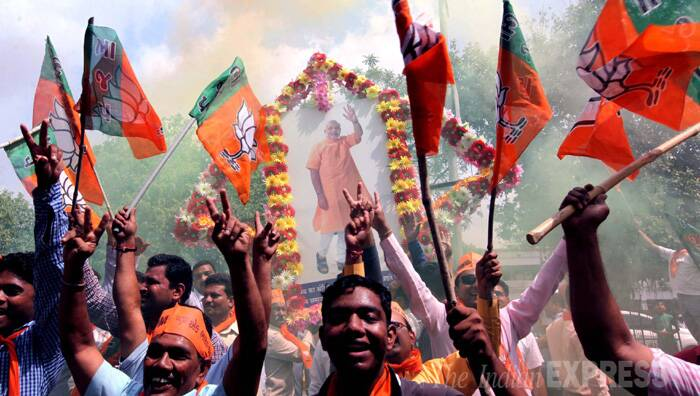 BJP supporters celebrate Narendra Modi's victory in Vadodara. (Source: Express Photo by Bhupendra Rana)