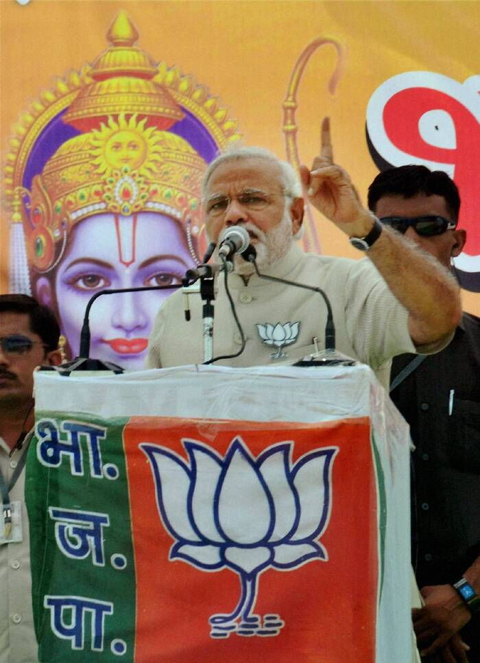 Within hours of Narendra Modi's address to a rally in Faizabad where he invoked Lord Ram, the Election Commission sought a report from the district authorities about his speech and the stage backdrop. (PTI)
