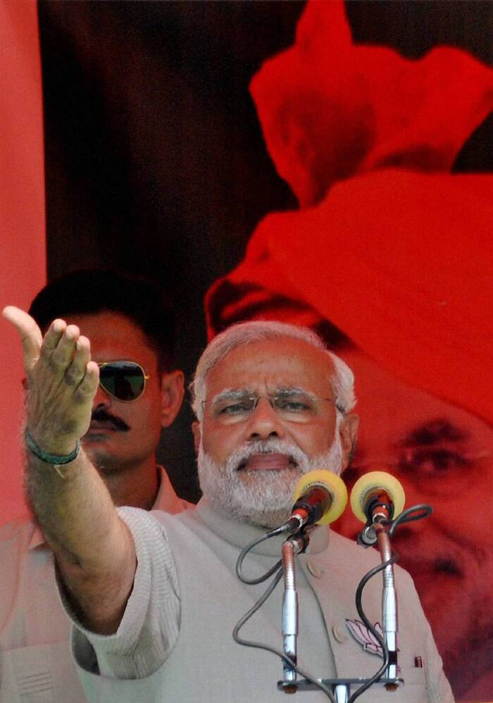 At the rally, the BJP PM candidate skirted any reference to his party's pet theme of building Ram temple at the disputed site in Ayodhya, which is part of the district and epicentre of Ram Mandir movement, but made several references to Lord Ram to exhort people to defeat Congress, SP and BSP and support BJP. (PTI)