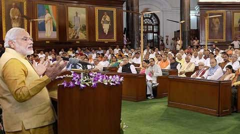 Prime Minister-designate Narendra Modi addresses the BJP parliamentary party meeting at the Central Hall of Parliament. (Source: PTI)