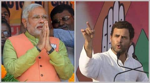 Narendra Modi greeted his political adversary Rahul Gandhi warmly grabbing his hand.
