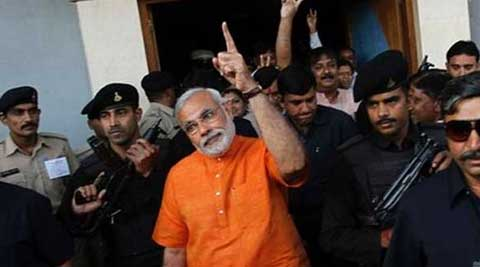 Modi gets security cover from the National Security Guard (NSG) and the Gujarat police.