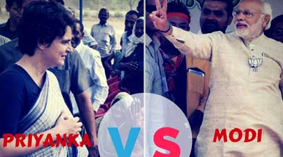 Image result for priyanka gandhi vs narendra modi
