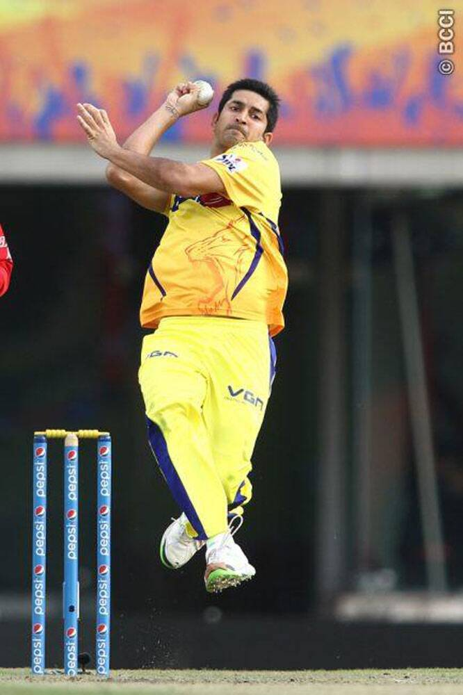 Chennai Super Kings seamer Mohit Sharma played a major role in restricting Rajasthan Royals to a modest total of 148/8. He went for runs at the start, but came back strongly to stifle Royals' big hitters from scoring freely. Mohit took three wickets in his spell. (Photo: IPL/BCCI)