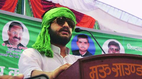 Son addresses a rally in Mukhtra Ansari's absence. (Express)