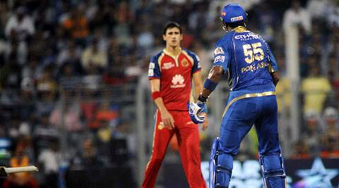 Mumbai Indians and Royal Challengers Bangalore had its share of controversy owing to an ugly on-field spat between Kieron Pollard and Mitchell Starc (IE Photo Kevin D'Souza)