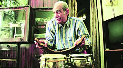 Homi Mullan with his collection of percussion instruments at his Bandra home.