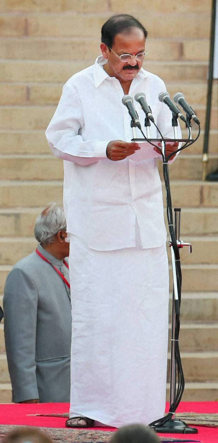 <b>Venkaiah Naidu</b>, 64<br />Kamma<br /><br /><b>This Election</b>: Did not contest. Has been a member of the Rajya Sabha from Karnataka since 1998.<br /><br /><b>Journey to Cabinet</b>: Naidu joined the RSS as a student and went on to become ABVP leader in 1973-74. He won elections to the Andhra Pradesh Assembly twice. Was BJP president from 2002 to 2004 and resigned after the NDA lost in 2004.<br /><br /><b>Previous ministerial record</b>: Was Minister of Rural Development in the previous NDA government.
