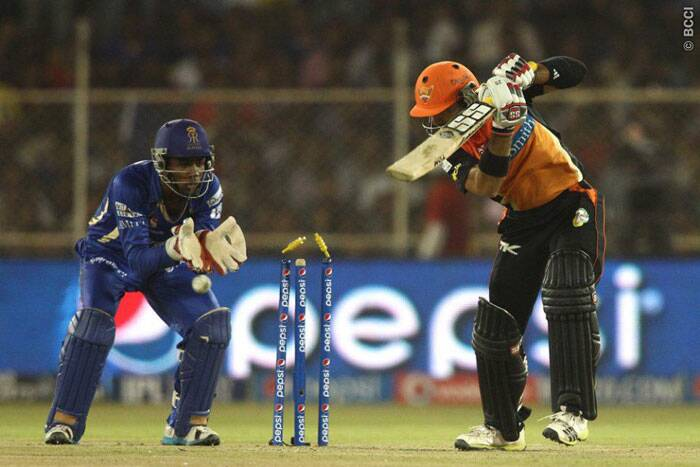 It was all but the same scenes for Hyderabad as their wickets fell at regular intervals. Seen here, Naman Ojha (17 off 19) was bowled by Rajat Bhatia who took three wickets and gave away only 23 runs of his four overs. (Photo: BCCI/IPL)