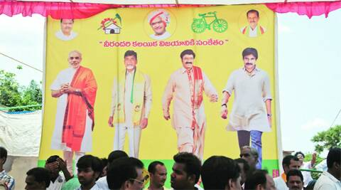With Naidu, Balakrishna and Pawan Kalyan, Modi is one among four equals in rural Andhra Pradesh.Harsha Vadlamani