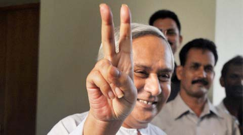 BJD president Naveen Patnaik shows victory sign after the party's victory in Lok Sabha elections in Bhubaneswar on May 16. (Source: PTI)