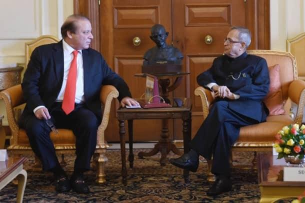 President Pranab Mukherjee meets Nawaz Sharif