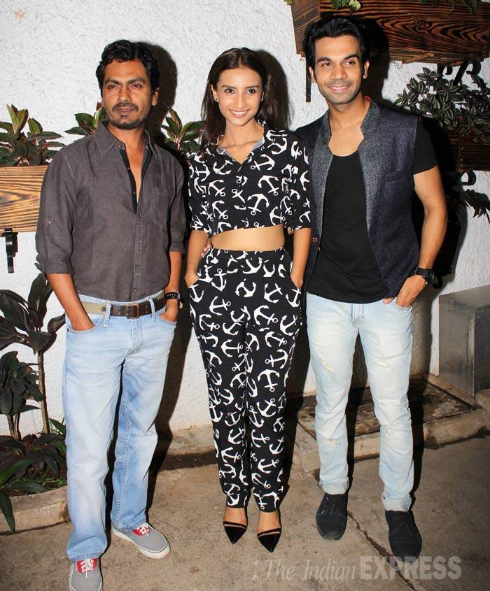 'Miss Lovely' actor Nawazuddin Siddiqui poses for a picture with 'CityLights' actors, Patralekha and Rajkummar Rao. (Source: Varinder Chawla)