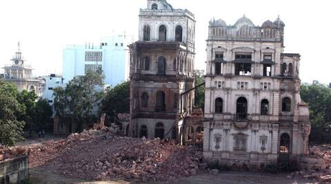 Nazarbaug Palace being demolished in Mandvi. (Source: Express photo by Bhupendra Rana)