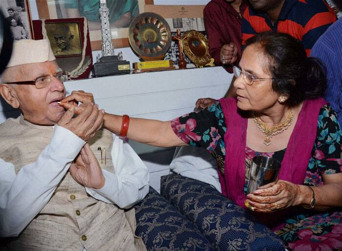 """Tiwariji married Ujjwala Sharma on Wednesday at his Mall Avenue residence"", a staff member of 89-year-old Tiwari said. <br /> N D Tiwari and Ujjwala Sharma at his residence in Lucknow on Thursday. (Source: Photo by PTI)"