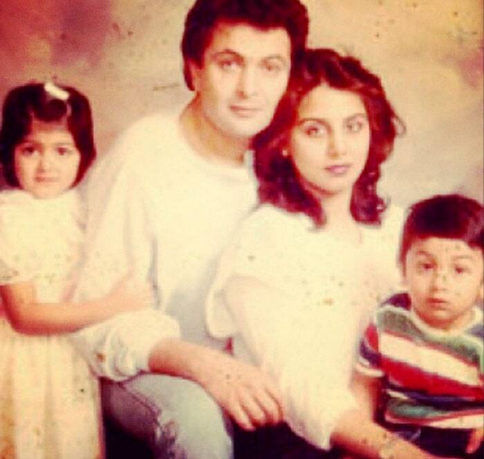 Veteran actress Neetu Kapoor (Singh), who was last seen in 'Besharam' with husband Rishi Kapoor and son Ranbir Kapoor, is very active on the photo sharing app Instagram. Neetu keeps sharing pics of her children especially her adorable son Ranbir, who is known to be very close to her mum. <br /><br /> Ranbir with his sister Riddhima as they pose with their parents, this pic is definitely from their holiday album. (Source: Instagram)