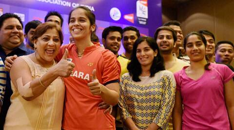 Saina Nehwal during a press conference for Thomas Cup and Uber Cup in New Delhi on Wednesday. (PTI)