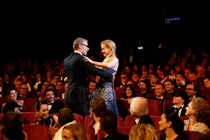 Lead actress of 'Grace of Monaco', Nicole Kidman waltzes with Master of Ceremonies actor, Lambert Wilson at the opening ceremony of the 67th Cannes Film Festival and the screening of the 'Grace of Monaco'. (Source: AP)