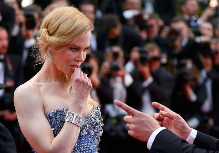 Nicole Kidman plays American actress Grace Kelly in the film, 'Grace of Monaco'. The <br /><br /> Nicole shows off her exquisite jewellery as she arrives for the 67th Cannes Film Festival and the screening of the 'Grace of Monaco'.