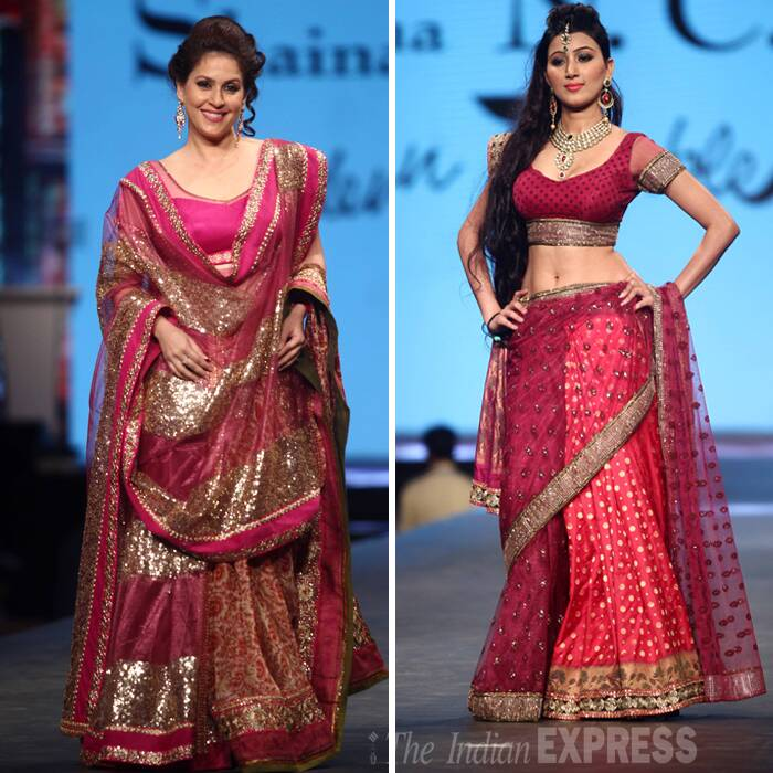 Celebrity chef Amrita Raichand and actress Nikunj Malik flaunted their beautiful pink lehengas. (Photo:Varinder Chawla)
