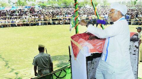 Bihar Chief Minister Nitish Kumar addresses an election campaign rally at Chiraiya on Sunday. (PTI)