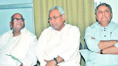 Bashistha Narayan Singh, (left), and Bijay Kumar Choudhary are among the frontrunners to be CM if Nitish Kumar (in Patna on Saturday, above) goes.