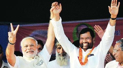 Modi with Paswan in Hajipur Wednesday.PTI