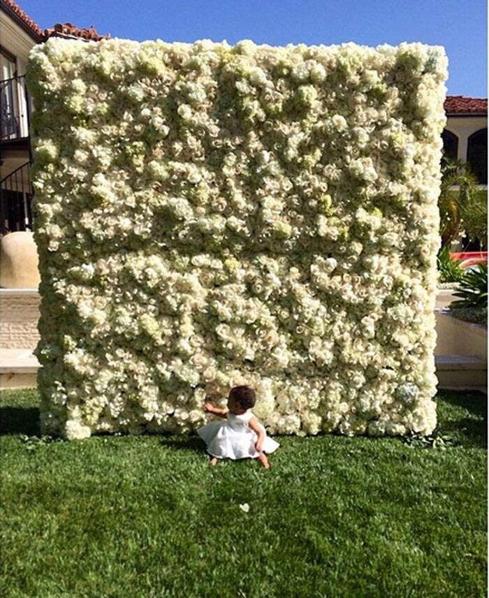 Kim Kardashian's fiance Kanye West on behalf of their daughter North gifted her a 3D wall of flowers on the special day.
