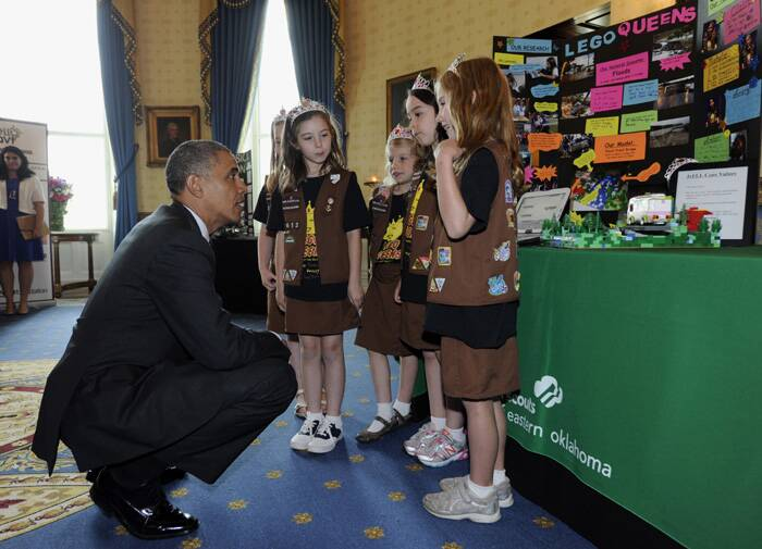 US President Barack Obama met with students from all over the country, right from elementary to high school at the Annual White House Science Fair where he encouraged women to take up Science and Technology. <br /><br /> Seen here, US President Obama speaks to a group of girl scouts from Tulsa, who designed a flood-proof bridge. (Source: AP)