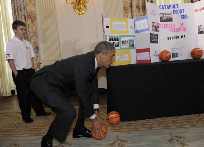 The President also took time to play as he caught a basketball as some students showed him their basketball catapult. (Source: AP)
