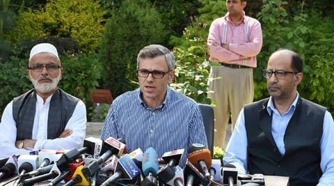 J&K CM Omar Abdullah addressing a press conference at his residence in Srinagar on May 16.  (Source: PTI)