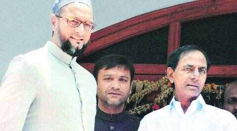 MIM chief Asaduddin Owaisi with TRS president K Chandrasekhar Rao at his residence in Hyderabad on Thursday.(Source: PTI)