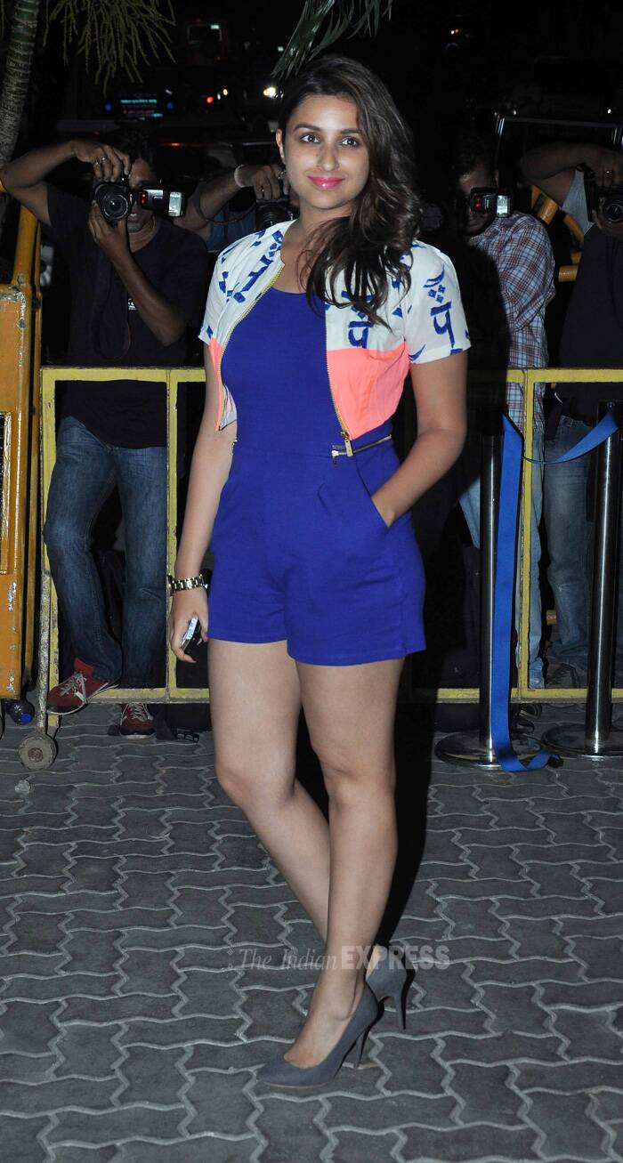 Actress Parineeti Chopra failed to impress in the blue short jumpsuit she teamed with a white and pink shrug. (Source: Varinder Chawla)