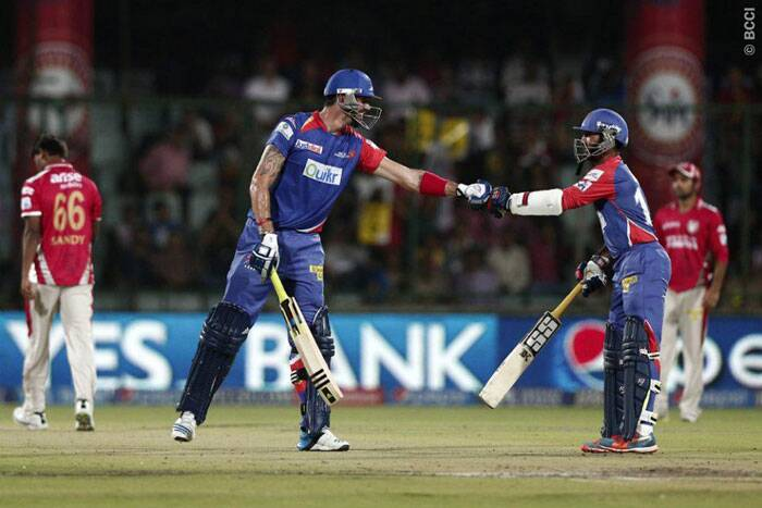 The Kevin-Karthik partnership of 71 runs off 48 balls was the only highlight of Delhi innings. Delhi finished with 164/7 in their 20 overs. (BCCI/IPL)